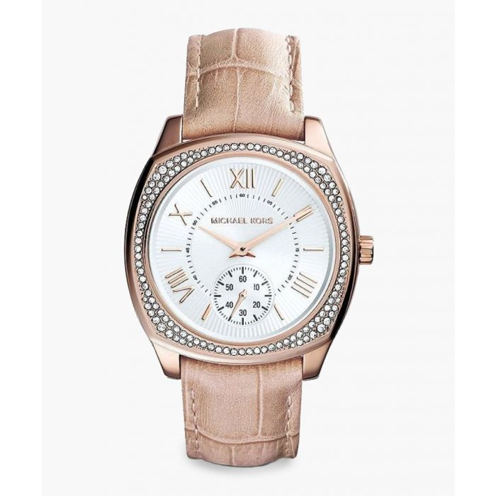 Image for Beige leather moc-croc watch