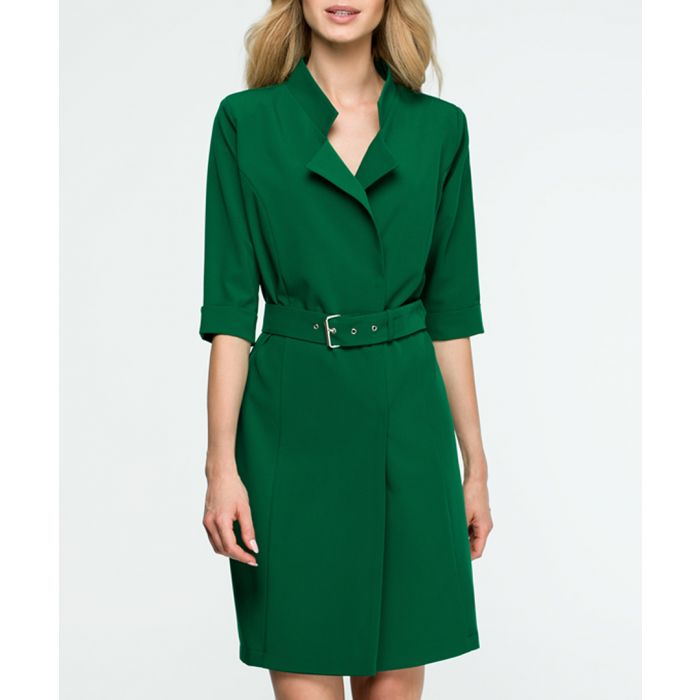 Image for Green belted lapel dress