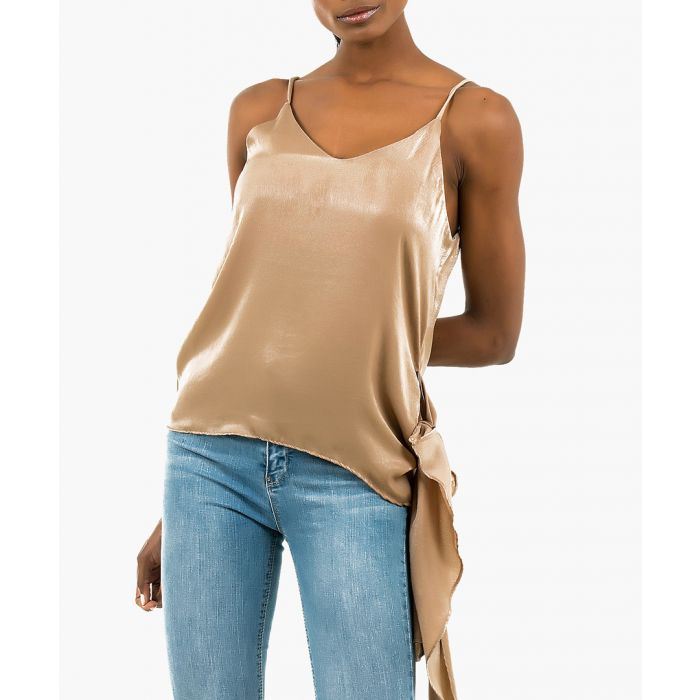 Image for Beige satin side-tie detail cami top