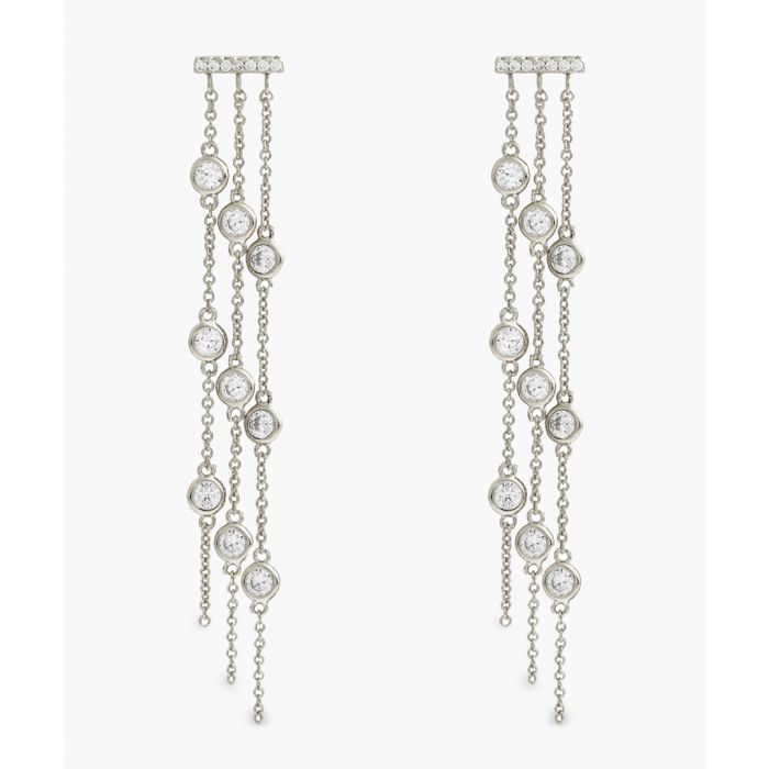Image for 18k white gold-plated earrings