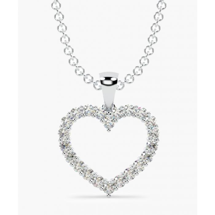 Image for 9k white gold 0.25ct diamond heart pendant