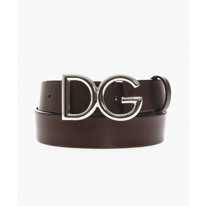 Image for Brown leather logo belt