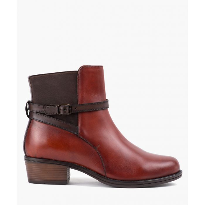 Image for Mahogany leather strap ankle boot