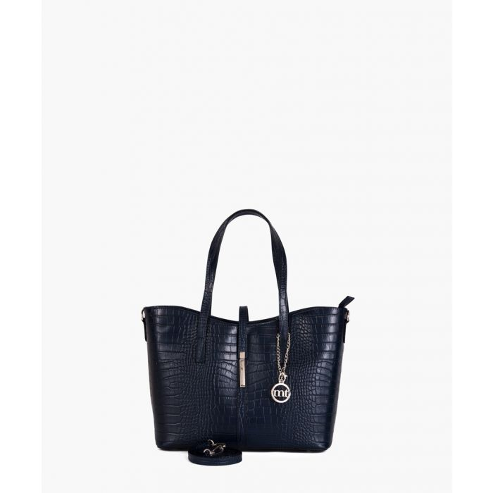Image for Valbrona dark blue leather shopper