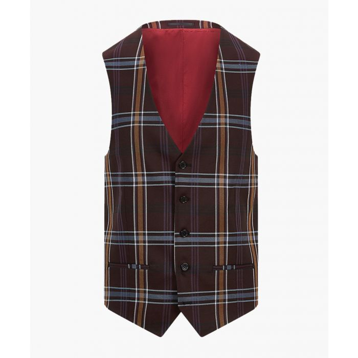 Image for Purple check skinny waistcoat
