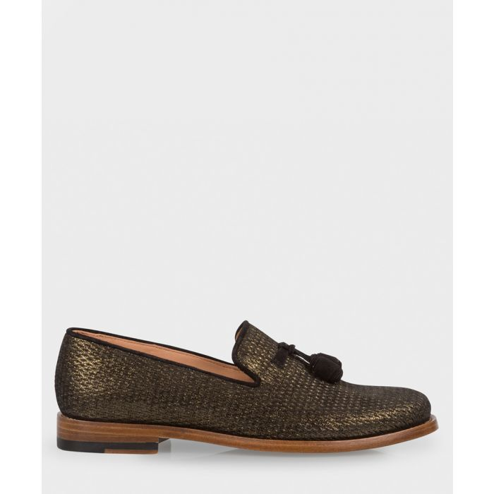Image for Black & gold leather textured slip-ons