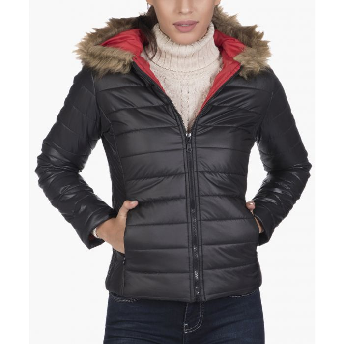 Image for Black quilted hooded jacket