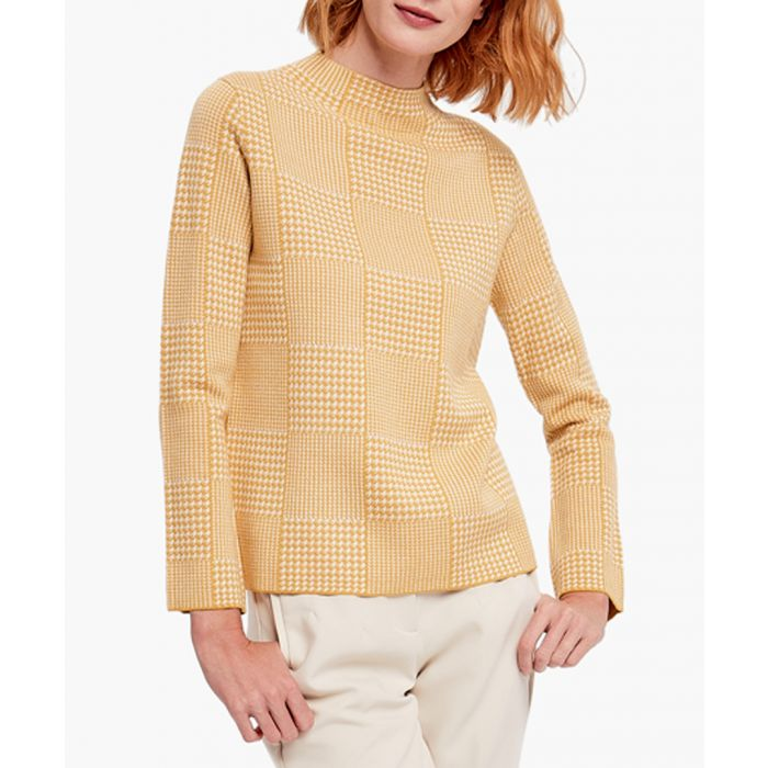 Image for Yellow and white cashmere blend jumper