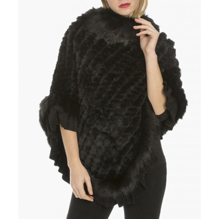 Image for Black faux fur and suede knitted poncho