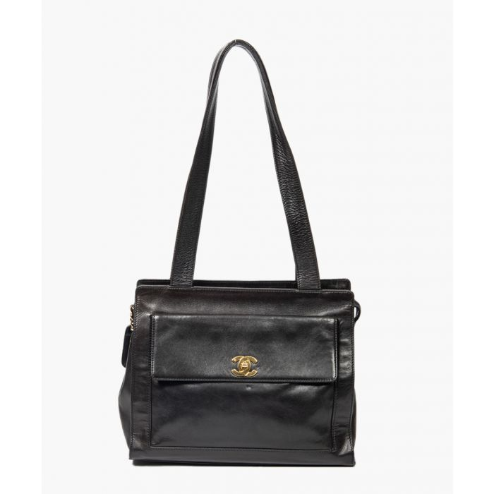 Image for Vintage black front flap tote