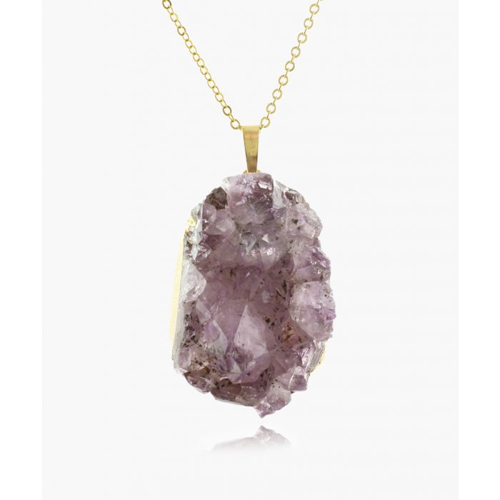 Image for 14k gold-plated and amethyst necklace
