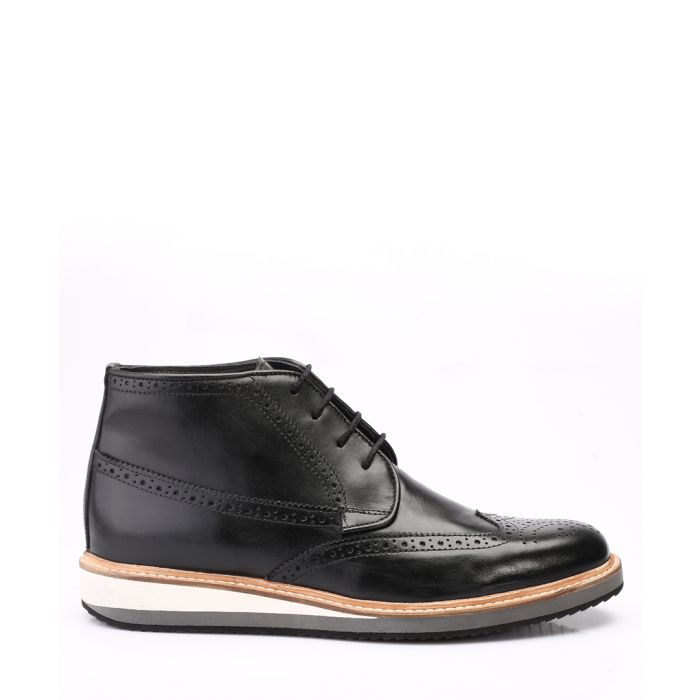 Image for black leather flat brogue boots