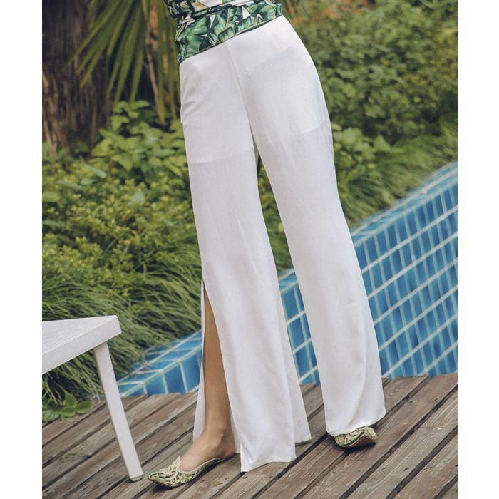 Image for White split side trousers