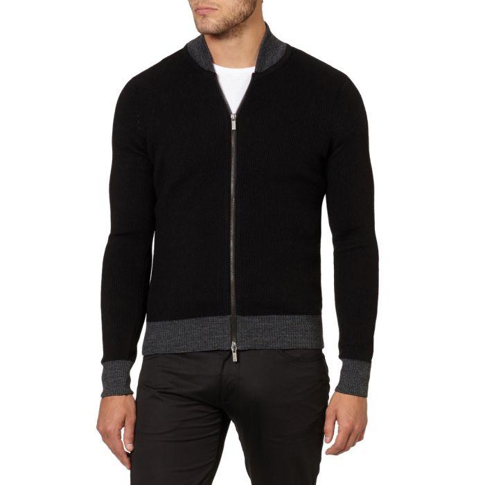 Image for Black & grey wool blend zip-up jumper