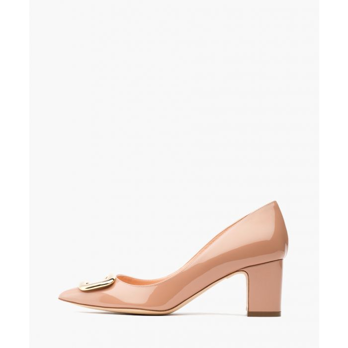 Image for Clava nude and gold-tone patent leather embellished pumps