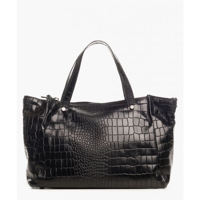 Image for Montepulciano black leather shopper