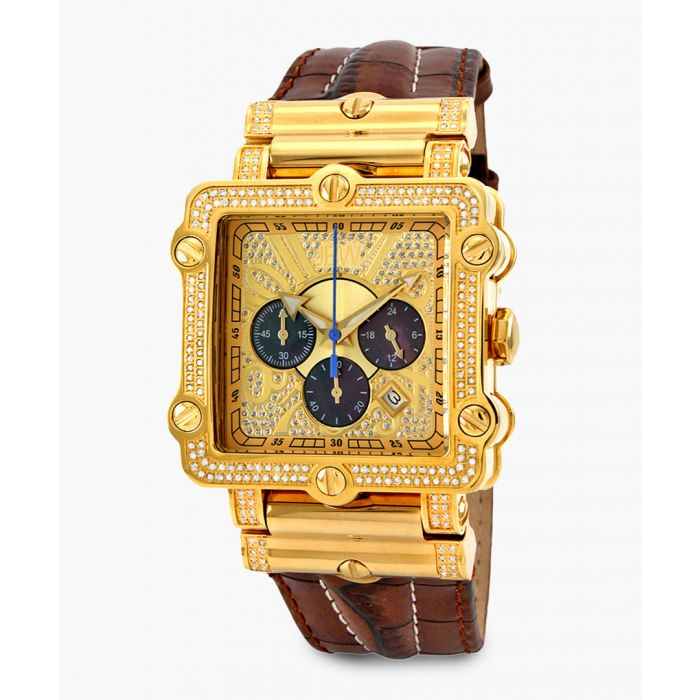 Image for Phantom 18k gold-plated stainless steel and brown leather watch