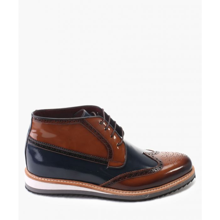 Image for Navy and tan leather chukka boots