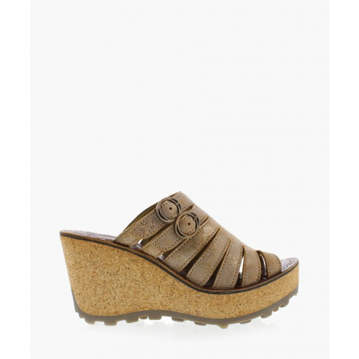 Image for Luna tan leather wedge sandals