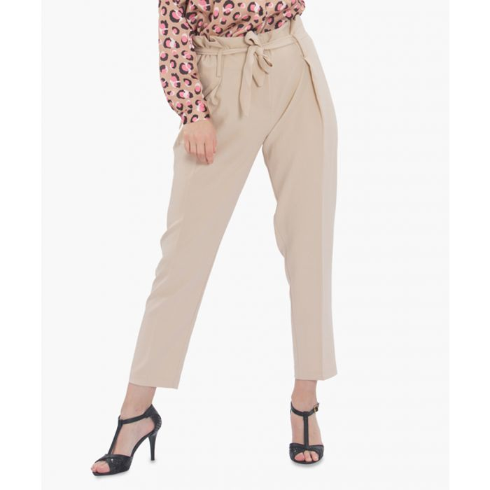 Image for Beige tapered belted trousers