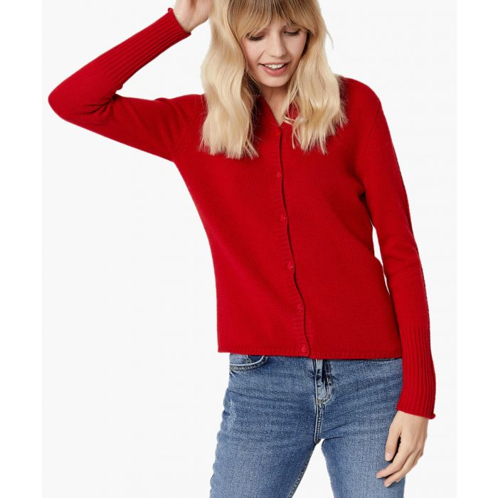 Image for Red pure cashmere cardigan
