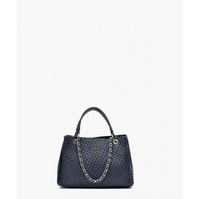 Image for Blue leather shopper