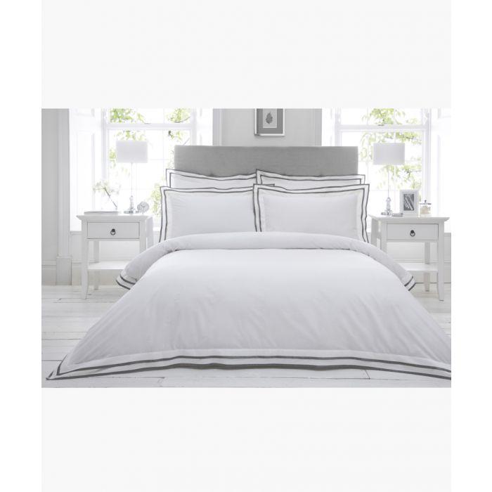 Image for Sandringham silver-tone cotton king size duvet cover set