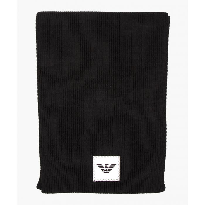 Image for Black wool and cashmere blend logo patch scarf
