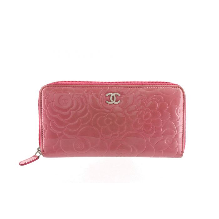 Image for Vintage Chanel Camellia Patent Leather Wallet Pink