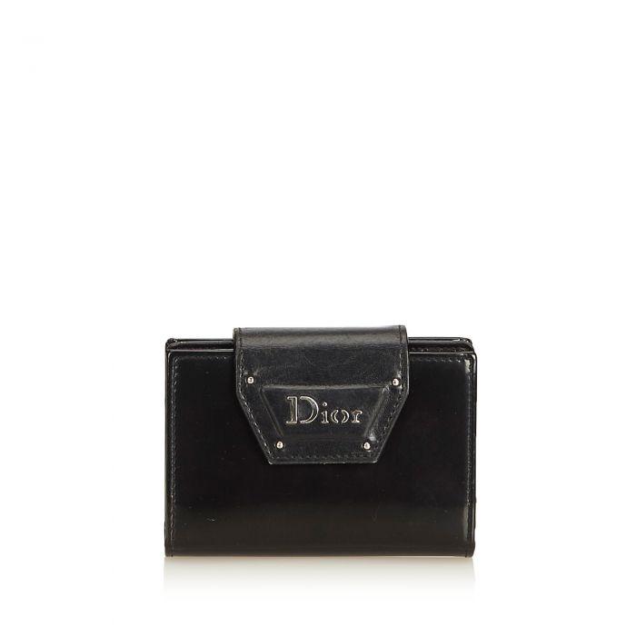 Image for Vintage Dior Leather Business Card Holder Black