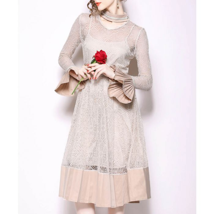 Image for beige bell-sleeve dress