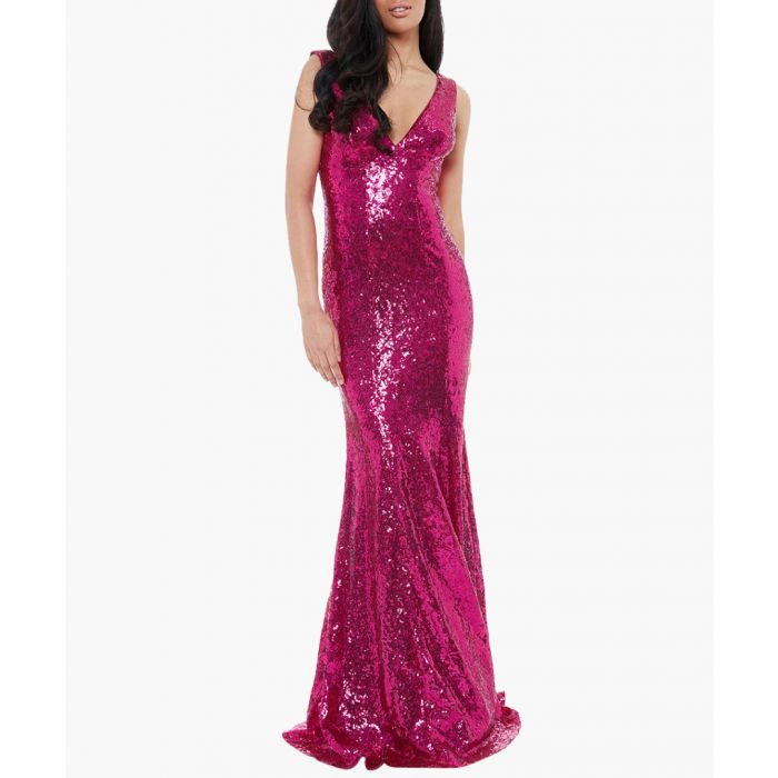 Image for Cerise sequin plunge maxi dress