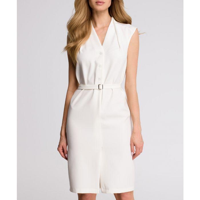 Image for White waist-tie button dress