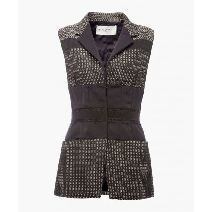 Image for Geometric strip sleeveless jacket