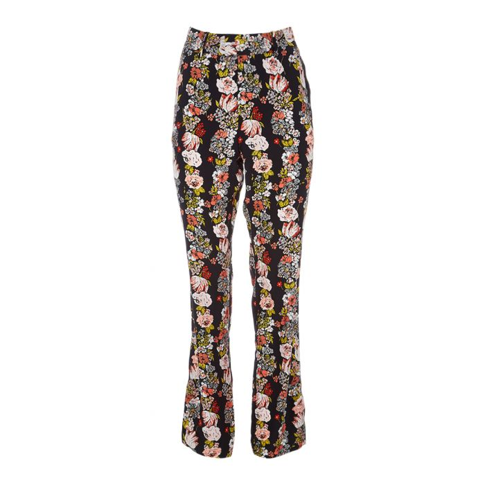 Image for Florence floral pure silk flare trousers
