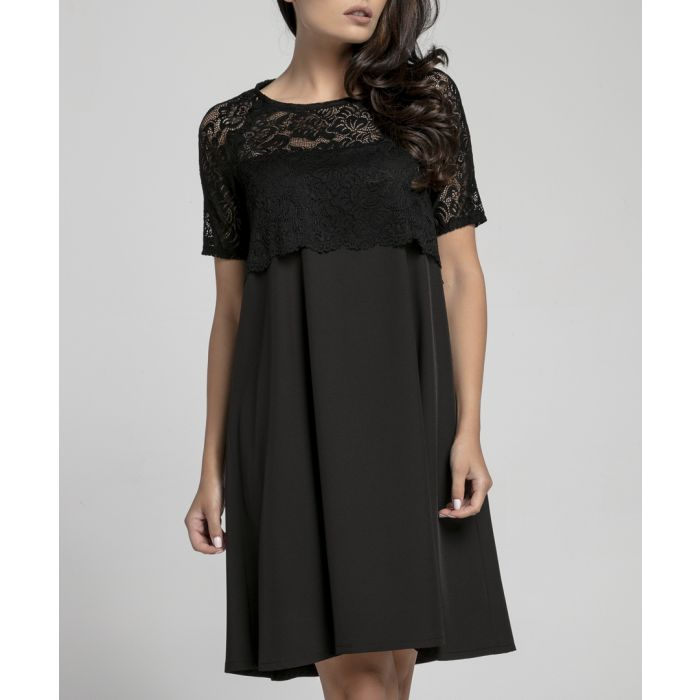 Image for Black lace contrast dress