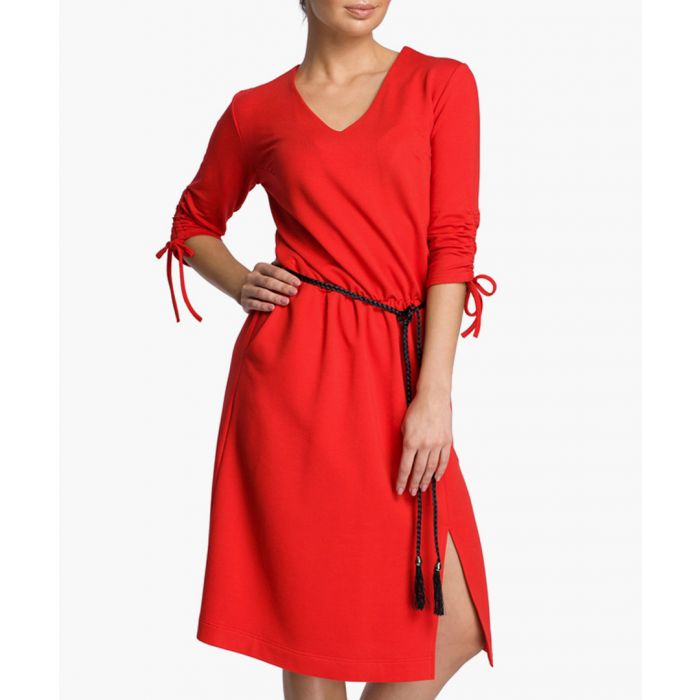 Image for Red cotton blend V-neck dress