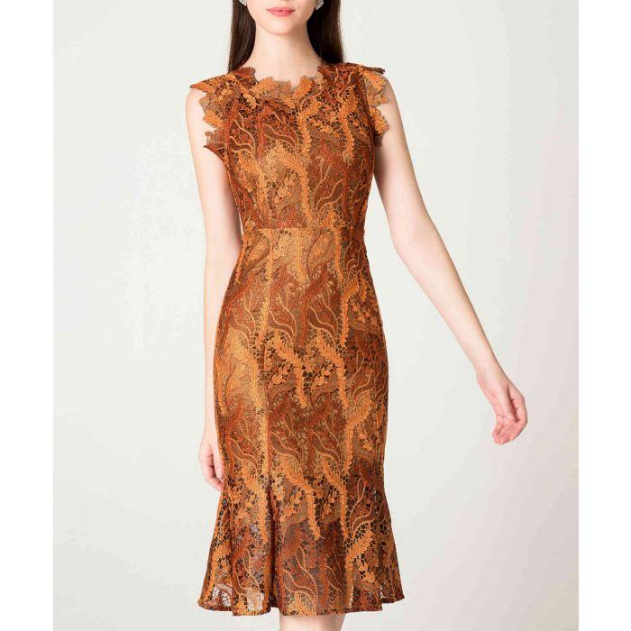 Image for Caramel print trumpet midi dress