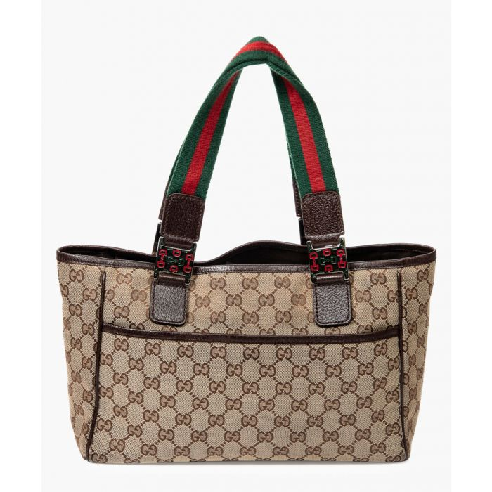 Image for Beige Original GG canvas and web strap tote