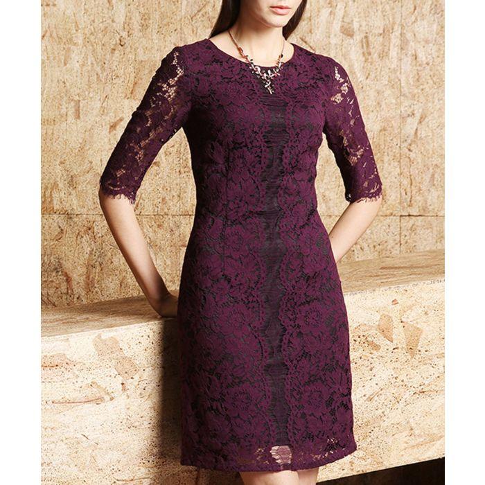 Image for Purple cotton blend floral lace dress