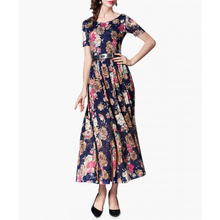 Image for navy floral short sleeve dress