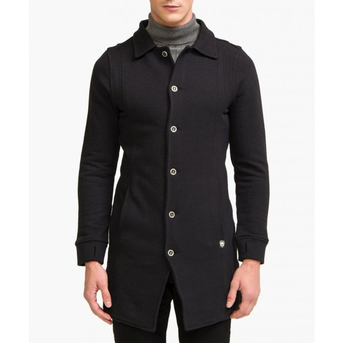 Image for Black cotton blend pea coat