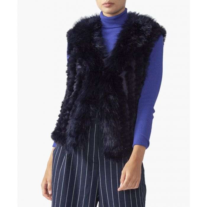 Image for Navy faux fur gilet