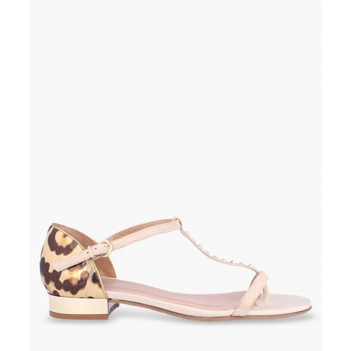 Image for Pink leather print T-bar sandals