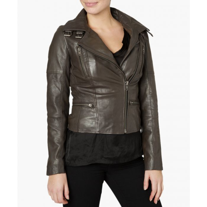 Image for Nobel seal grey leather biker jacket
