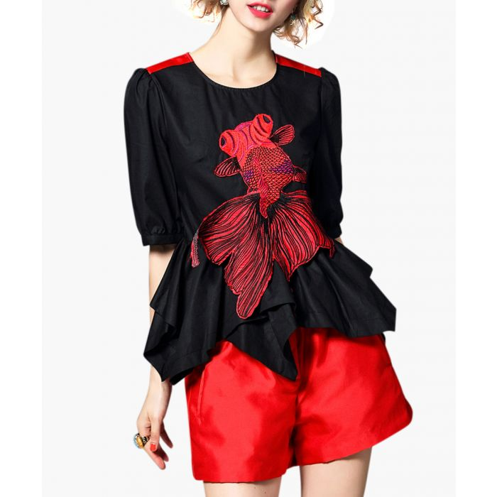 Image for 2pc red & black blouse & shorts set