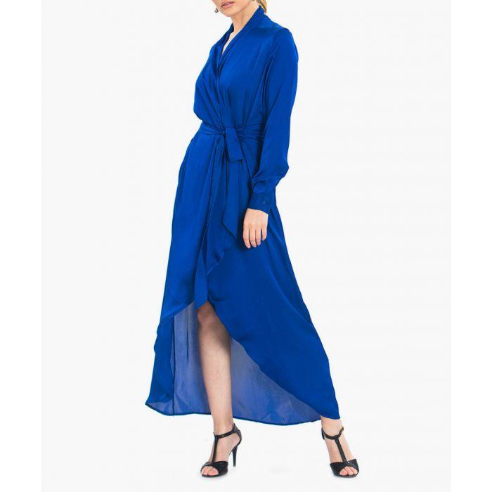 Image for Royal blue wrap long jacket