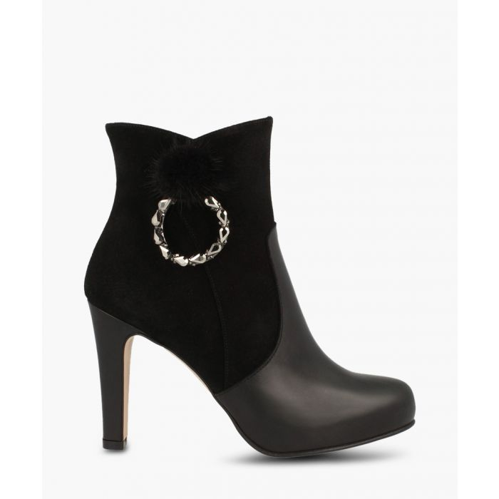 Image for Black leather embellished ankle boots