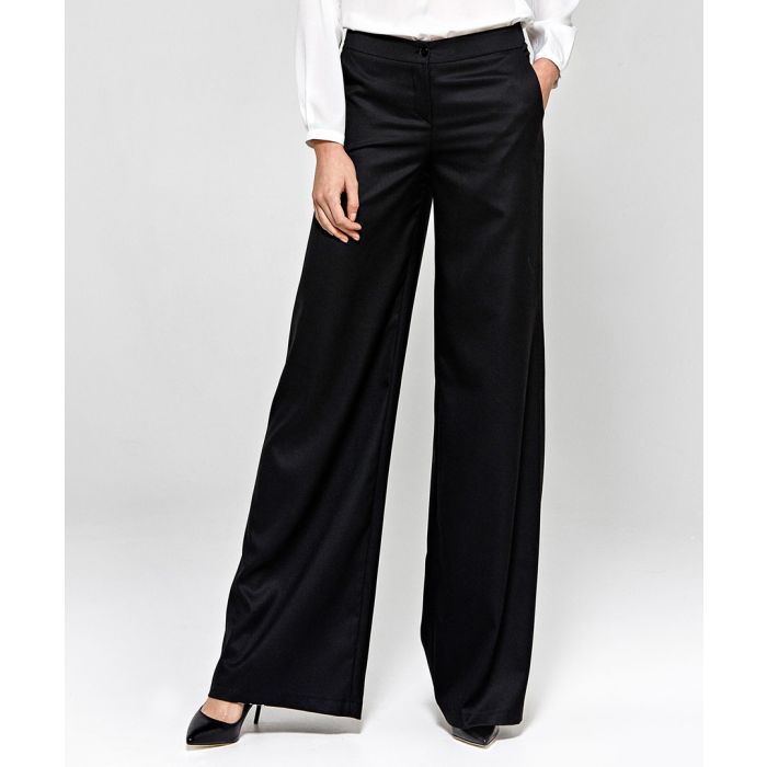 Image for Black wide leg formal trousers