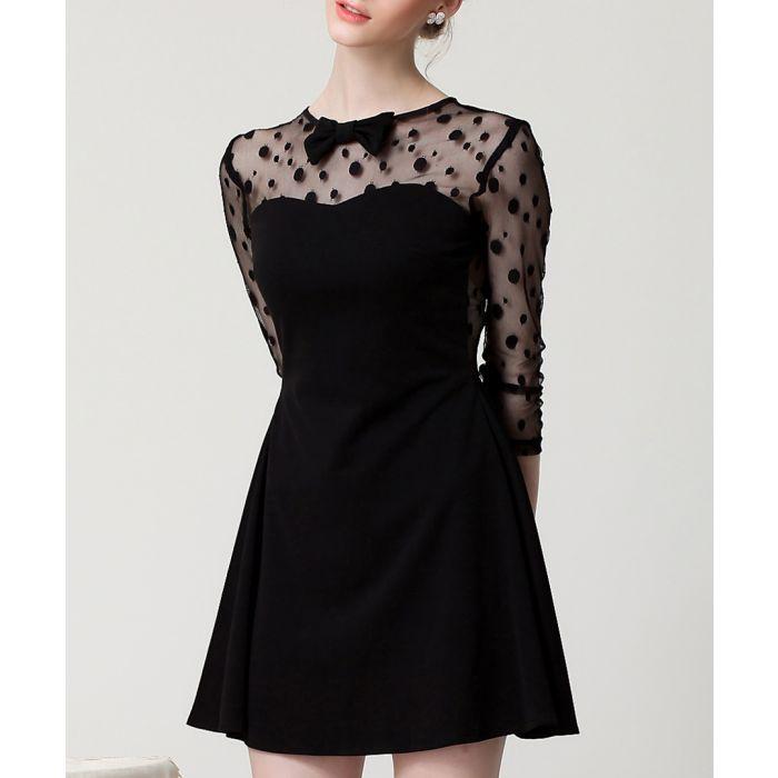 Image for Black sheer panel bow detail mini dress